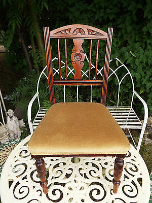 Edwardian Childs Upholstered Mahogany Chair Circa 1910 Display Teddy Doll