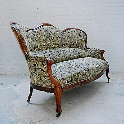 French Antique Period Victorian Upholstered Tapestry sofa / settee / chair