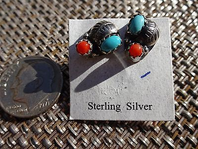 Navajo 12mm Sterling Silver Turquoise & Coral Studs