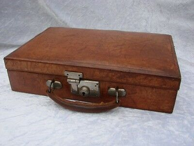 Superb Vintage Leather Writing Case With Internal Compartments / Suit Case Style