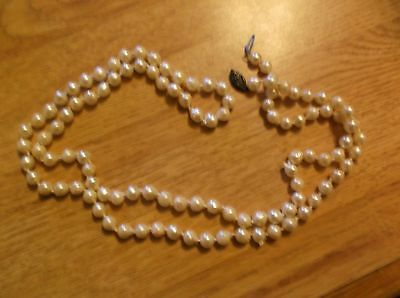 Vintage Genuine Pearls Long Knotted Necklace