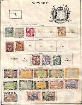Montenegro,1874-1913 First Years Stamps,3 pages left as is, MH and Used