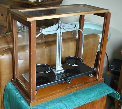 Griffin & George Ltd Vintage Balance Scales Wood & glass case + metric weights