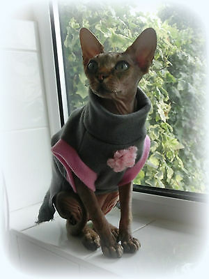 kitten FURRY FLOWER fleece top for a Sphynx cat clothes HOTSPHYNX Sfinks Katze