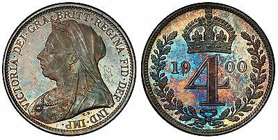 GREAT BRITAIN Victoria 1900 AR Maundy Set PCGS PL65-66 Superbly toned w/ case