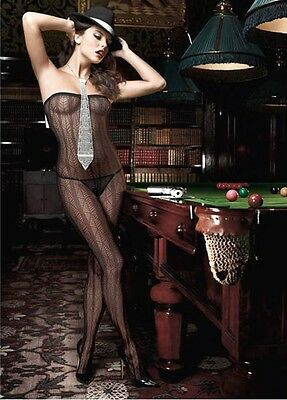 Baci Sexy Bodystocking  Jacquard Off Shoulder Catsuit