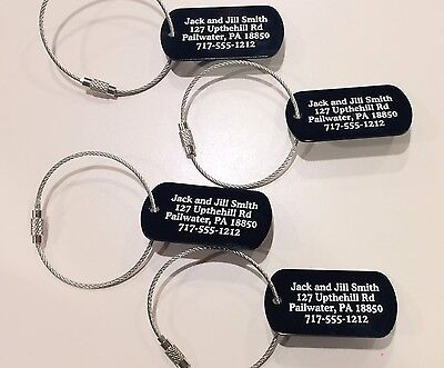 Personalized Aluminum Luggage tags(set of 5) with free cables!!