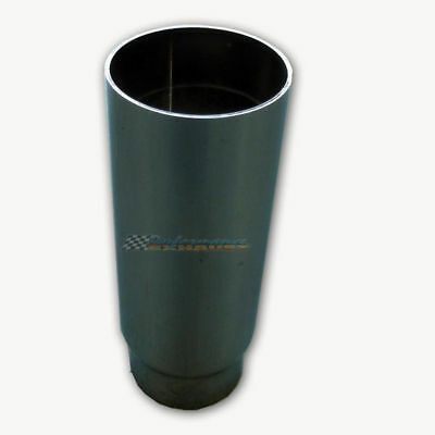 """Chrome Exhaust Tip 2.5"""" Inlet 3"""" Outlet Straight Cut 8"""" Long"""