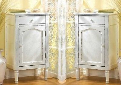 2 Cabinet Tables Nightstand Distressed White Side Table - Set