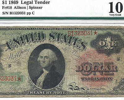1869 $1 *RAINBOW* TREASURY NOTE! PMG VG 10! SCARCE! FR# 18 Old US Paper Money!