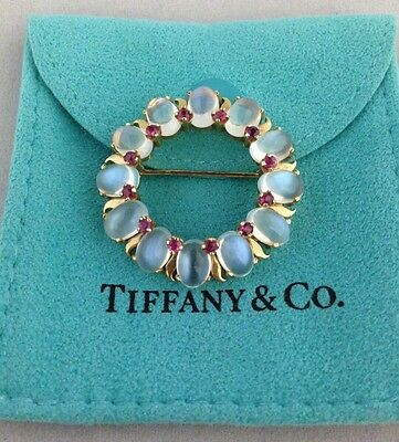 *must See* Vintage Deco Tiffany & Co 14K Gold Moonstone & Rubies Circle Brooch