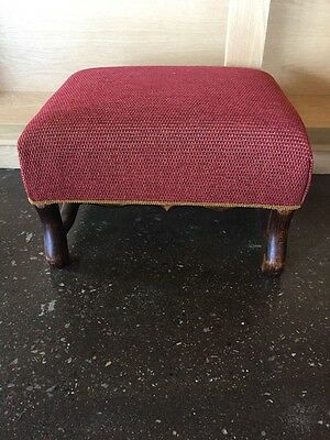 French Oak Footstool Reupholstered Look