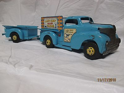 """RARE Marx 1950's Vintage Tin Toy Pickup Truck and Trailer """"Lazy Day Dairy Farms"""""""