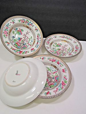 "4 Royal Doulton Dresden Indian Tree Rimmed Soup Bowls 7.75"" Stearns Boston MA"