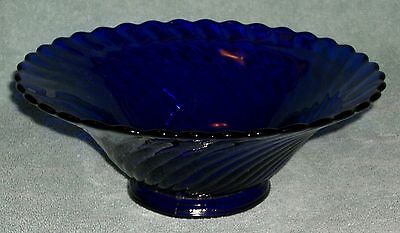 Cobalt Blue Glass Footed Swirled Pattern Scallop Edge Serving Bowl 10 inch