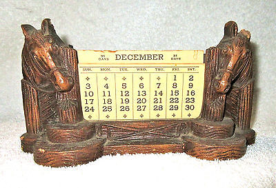 Vintage Ornawood Horse Western Themed Perpetual Calendar Syrocco Type