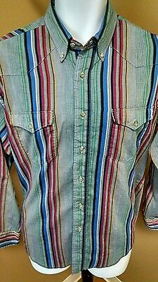 Wrangler Western Shirt Mens M Read! Multi-Color Stripes Long Sleeve Cotton Blend
