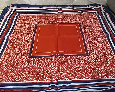 Vintage Olga Greco Silk Rayon Scarf in Red, White, and Blue Floral Background
