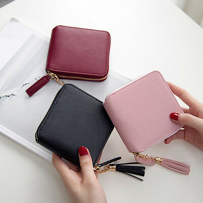 Tassel  Women Mini Leather Square PU Wallet Card Holder Coin Purse Clutch Bag