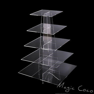 5 Tier Square Cupcake Stand  Dessert Tower Clear Acrylic Display Cake Stand Fast