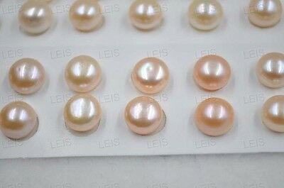 wholesale 20 PCS (10 Pairs) 10.5-11mm pink half drilled Freshwater pearl