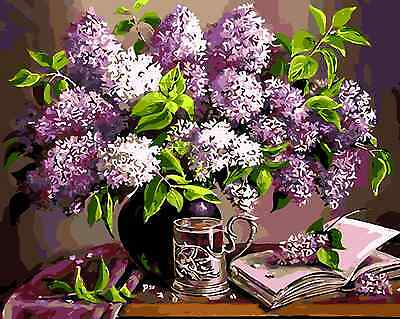 Acrylic Painting By Numbers Kit Canvas Floral Still Life 50*40cm S5 8036 DECOR