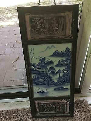 Vintage Chinese Wood And Porcelain Tile Wall Hanging