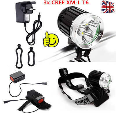 3 x CREE 3600LM XML T6 LED Bike Bicycle Light Headlamp Rechargeable Cycle Light