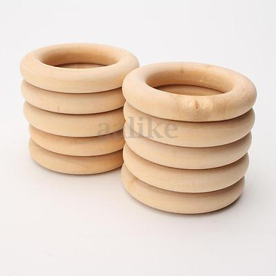 20pcs Large Outer Dia. 55mm Unfinished Natural Wooden Round Ring DIY Craft Bunny