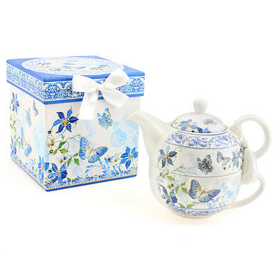 Tea Set For One Tea Pot & Cup Gift Box White Blue Butterfly By Leonardo