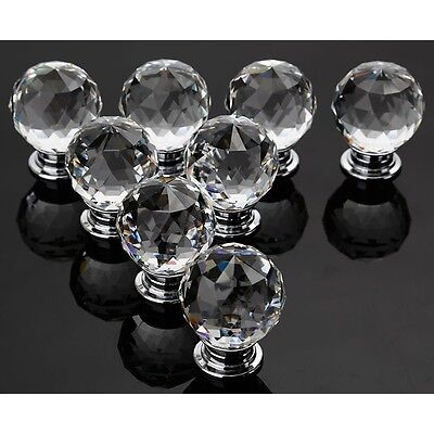 8/16PCS Crystal Glass Door Knobs Diamond Drawer Cabinet Furniture Kitchen