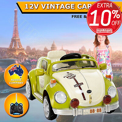 12V Kids Children Electric Ride On Car Toy Vintage Car Green With Control