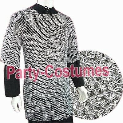 XL ALUMINIUM ROUND RIVETED CHAINMAIL SHIRT 9mm 16 guage MEDIEVAL Armour