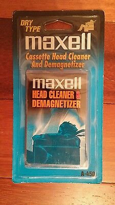 New Maxell A-450 Cassette Tape Deck Head Cleaner and Demagnetizer Dry Type.