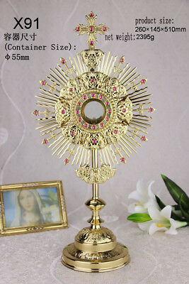 "Ornate Brass Monstrance Reliquary for  Church or Home Altar 20.08"" High X91"