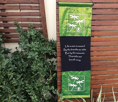 Balinese - Large Affirmation Flag - Dragonfly - Life is not measured - Green
