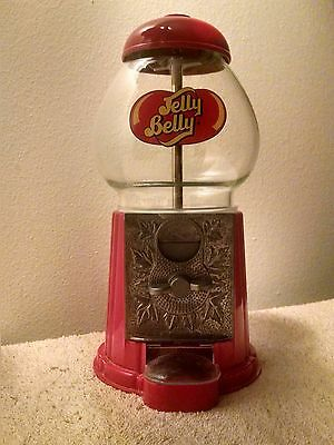 Jelly Belly Candy Gumball Machine Tabletop Coin Operated Glass and Metal