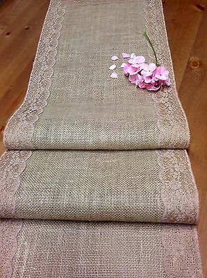 150cm Natural Burlap/hessian with Coffee Skintone Lace Table Runner