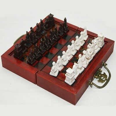 MINI 32 pieces chess,CHINESE Terracota Warrior,GIFT box set Qin Army Travel game