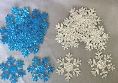 25 x Glitter Blue and Silver Christmas Snowflakes Shapes