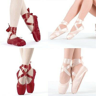 Hot Child Ladies Ballet Pointe Dancing Shoes Professional With Ribbons ~A