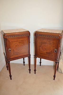 Pair of Antique Mahogany Bedside Chamber Pot Cabinet Marble Top