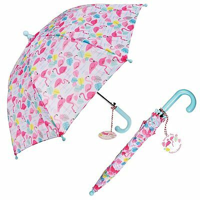 dotcomgiftshop CHILDRENS UMBRELLA FLAMINGO BAY. KIDS GIRLS BROLLY