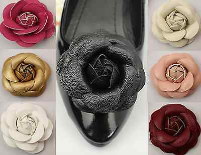Artificial Leather Rose Flower Wedding Winter Boots Sandals Shoe Clips Pair