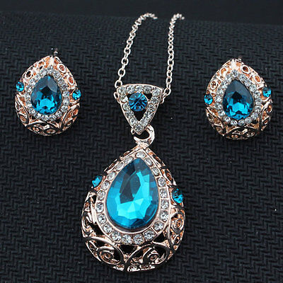 New Vintage 2-piece Set of Sapphire and Diamond Necklace and Stud Earring#H