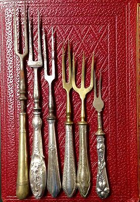 Antigue fork set, mixed in silver plated and solid silver