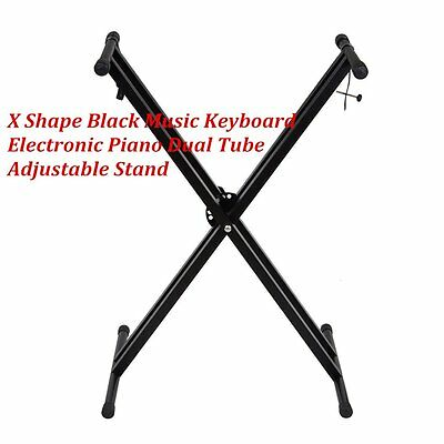 Folding Adjustable Double X Frame Keyboard Stand With Straps Music Accessories