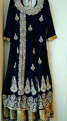 indian, diamontre embroidery  anarkali long dress with churidar and dubbata