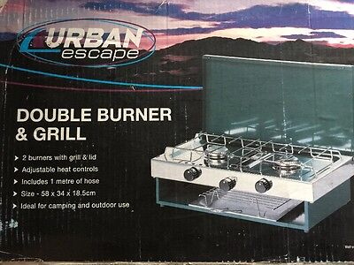 Portable Heater Double Gas Dual 2 Burner + Grill Camping Cooker Fishing Stove