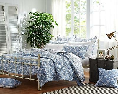 100% Cotton Coverlet / Bedspread Set Quilt Queen King Size Bed 230x250CM Blue